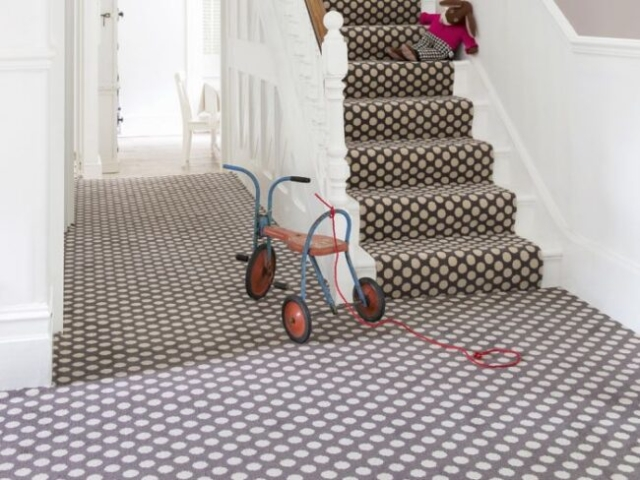 quirky stair runner, spotty pattern, designer carpet for stairs