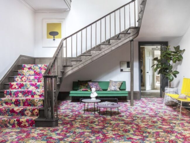 quirky stair runner, liberty pattern, designer carpet for stairs