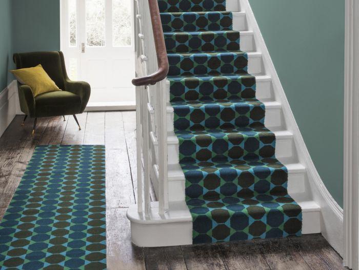 quirky stair runner, pattern, designer stairs carpet